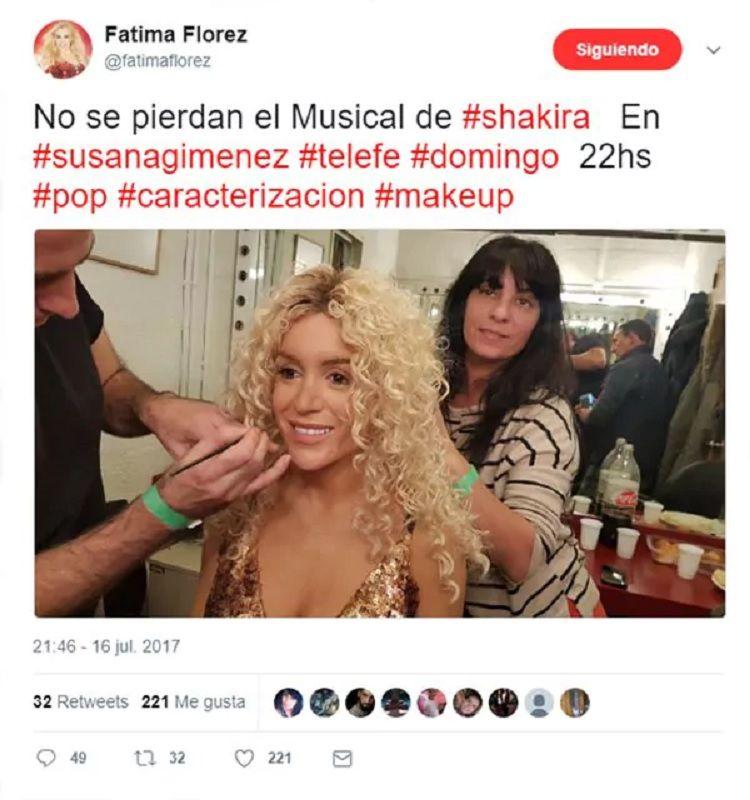 A dos meses de anunciarlo, Fátima Florez fue Shakira con Susana Giménez