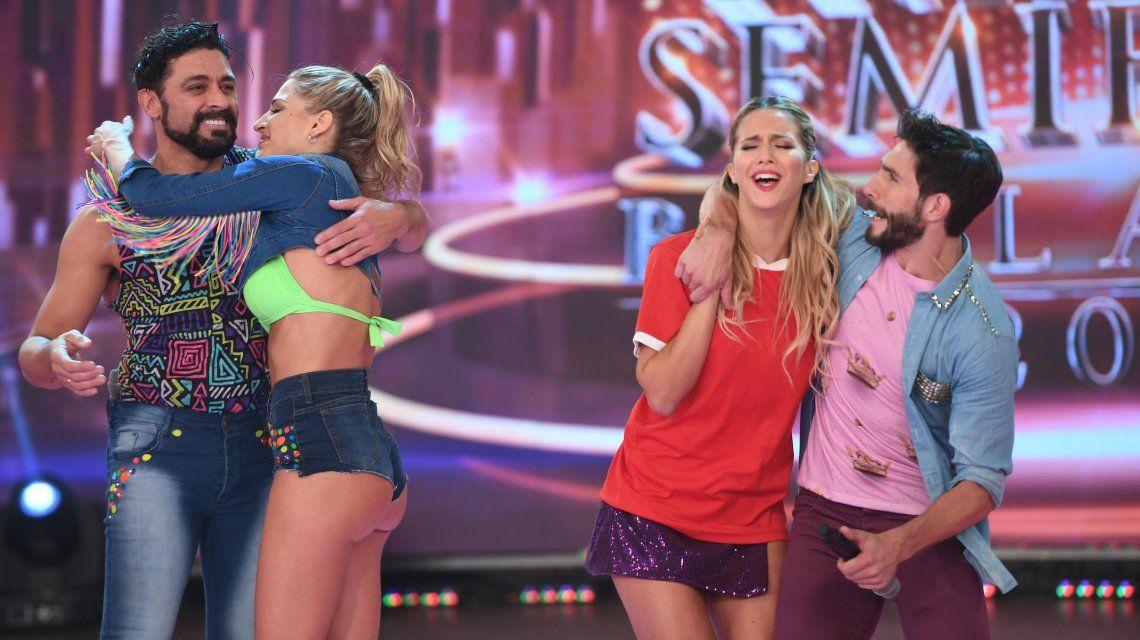 Flor Vigna celebra consagrarse finalista junto a Gonzalo Gerber ante la mirada de Hernán Piquín y Macarena Rinaldi