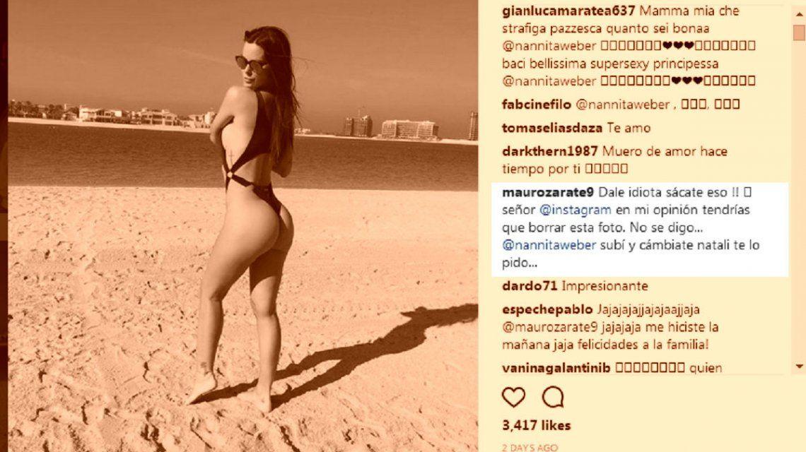 Mauro Zárate, hot y ¿desubicado? en Instagram por las fotos de su mujer Natalie Weber