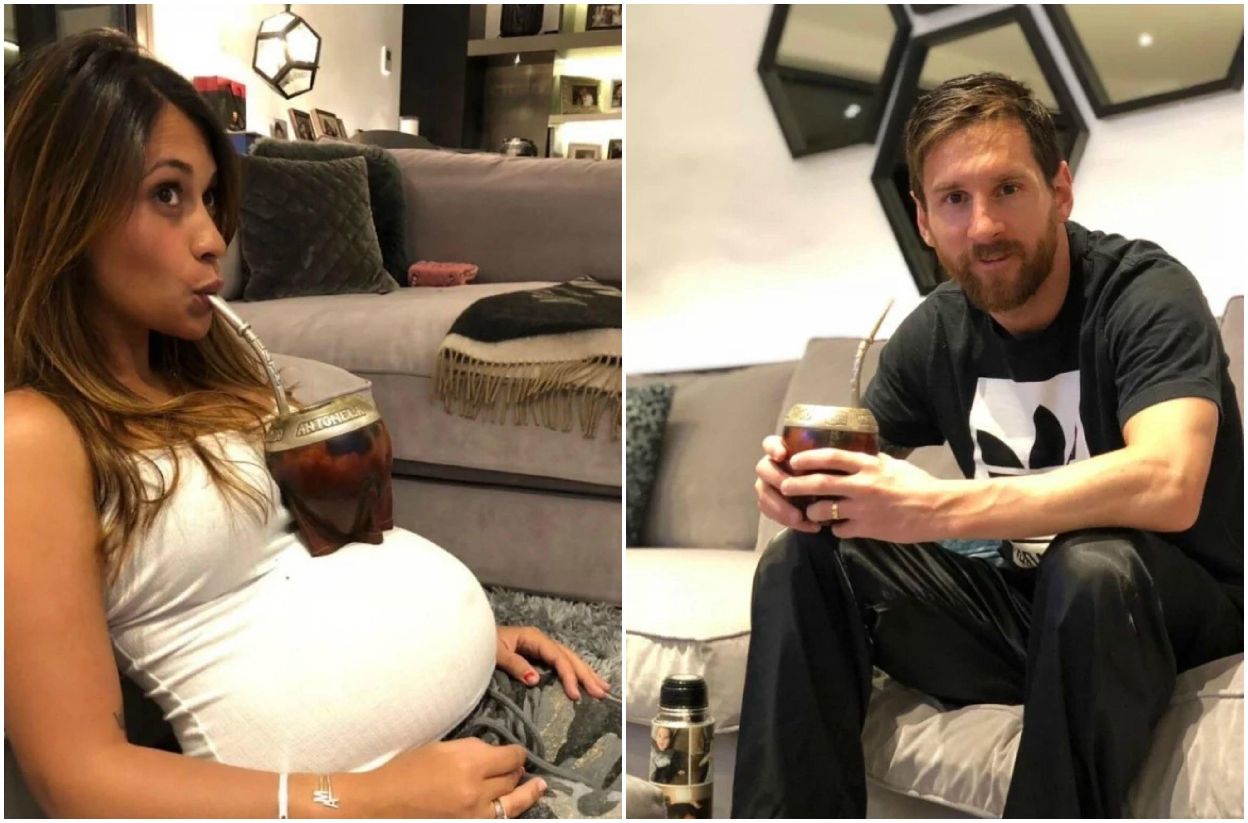 Antonela Roccuzzo y Lionel Messi tomando mate