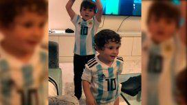 Thiago y Mateo Messi Roccuzzo