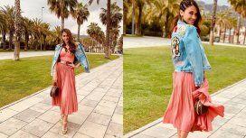 Antonela Roccuzzo sorprendió con su look a puro glamour en Barcelona