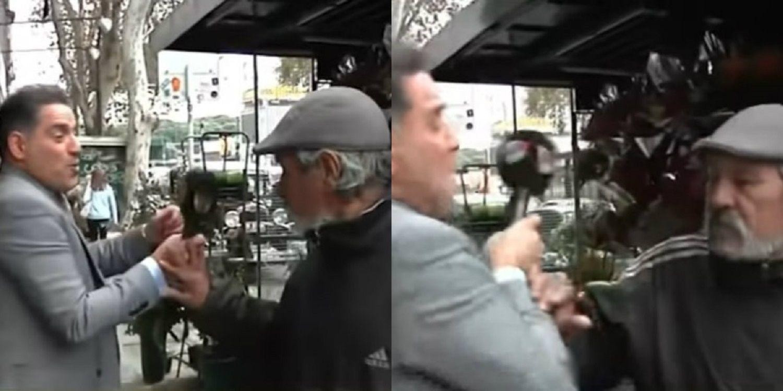 En medio del paro, Mariano Iúdica quiso entrevistar a un florista y casi se van a las manos