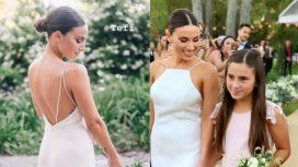 Los detalles del vestido de Tefi Russo, la mujer del Pollo Álvarez