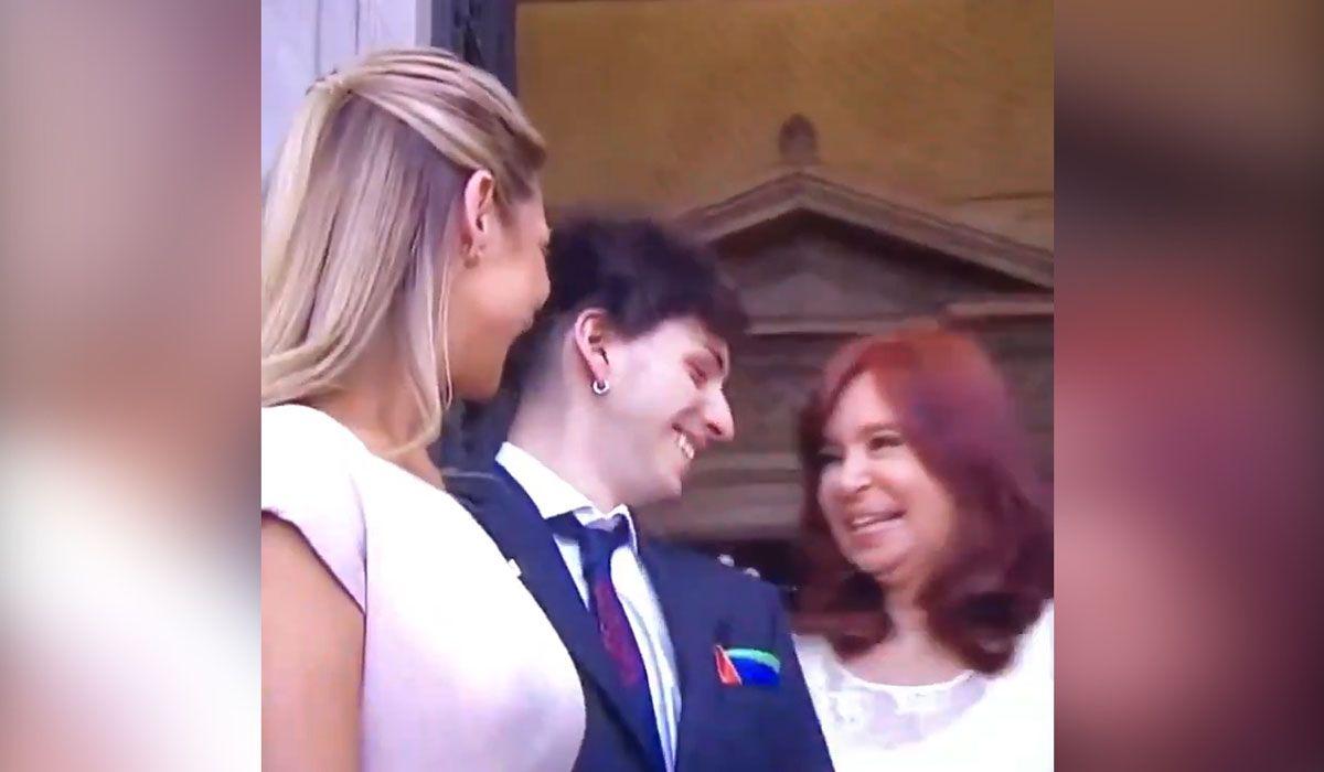 VIDEO: El hijo de Alberto Fernández hizo estallar de risa a Cristina Kirchner