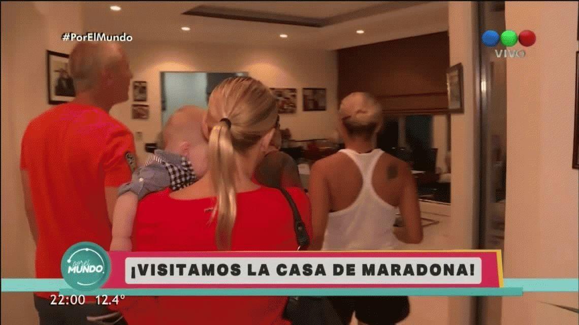 Marley y Mirko, con Carina Zampini, visitaron a Maradona en Dubai