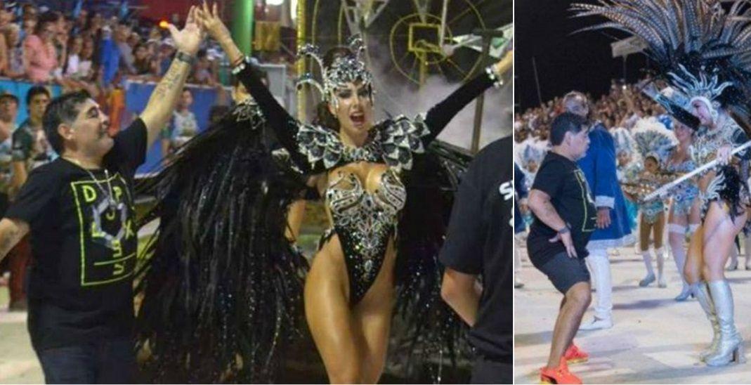 Diego Maradona en el Carnaval de Corrientes con Gisela Ramírez Méndez.