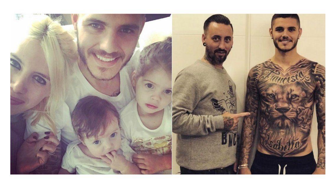 Mauro Icardi se hizo un enorme tatuaje en homenaje a sus hijas Francesca e Isabella