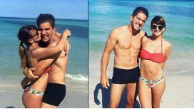 A cuatro meses de dar a luz, Amalia Granata se mostró en bikini junto a Leo Squarzon