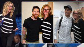 Julia Roberts, con Lionel Messi y Cristiano Ronaldo.