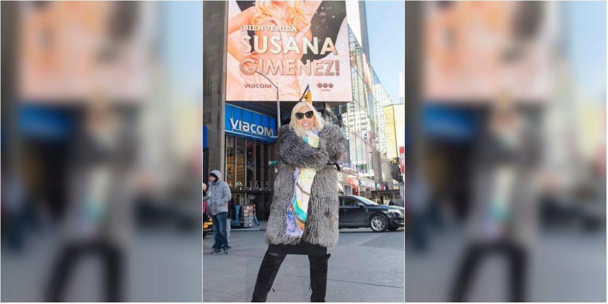 La enorme marquesina de Susana Giménez en Times Square