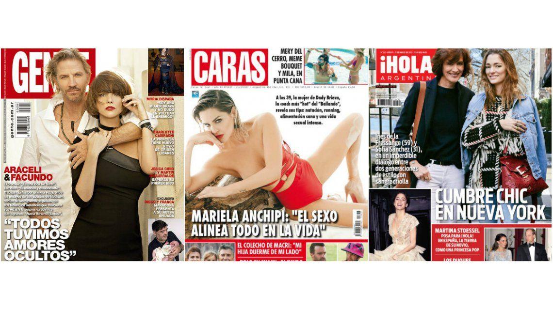 Tapas de revistas:  Arana y Araceli posan juntos, y Mariela Anchipi, muy hot