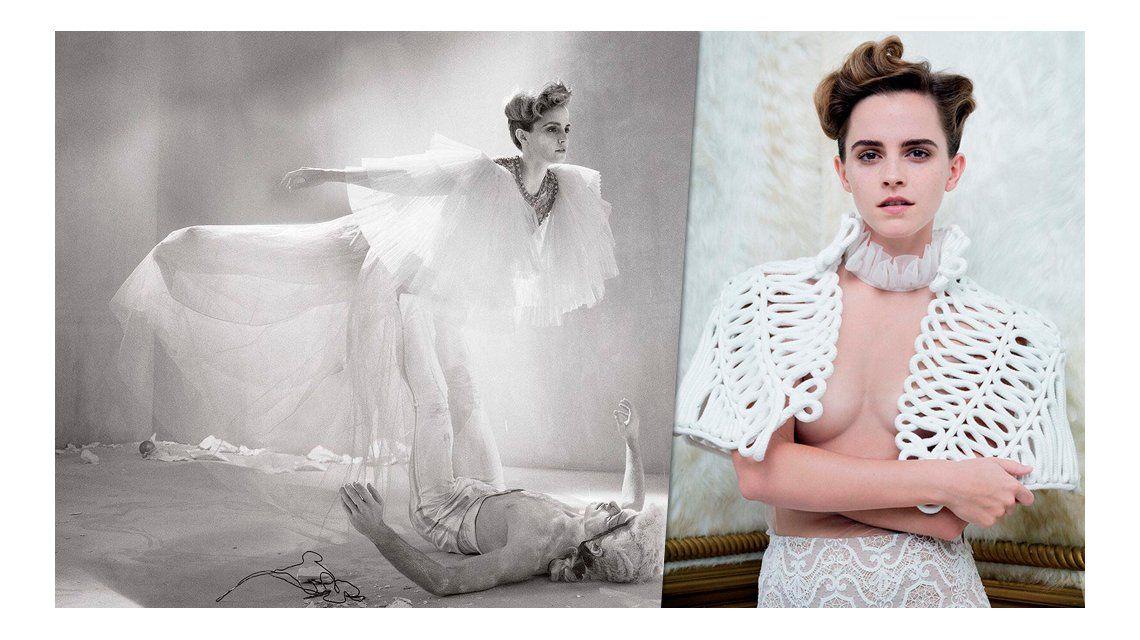 Emma Watson se animó a un topless en Vanity Fair