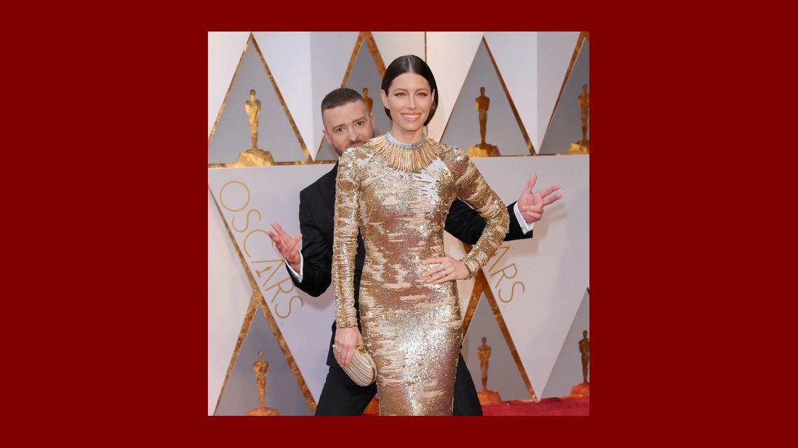 Justin Timberlake, en los Oscar 2017: desopilantes burlas mientras su novia Jessica Biel mostraba su impactante look