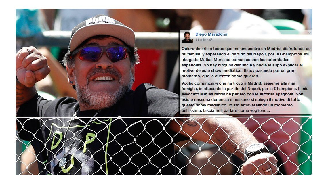 Maradona publicó un mensaje en Facebook.