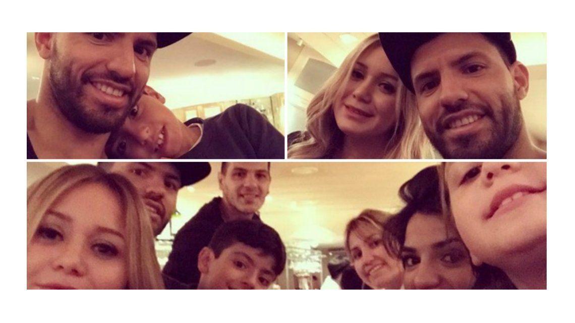 El Kun Agüero y su familia