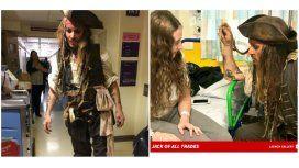Johnny Depp visitó un hospital de niños en Londres.