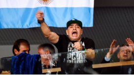 Diego Maradona, durante el partido de Delbonis