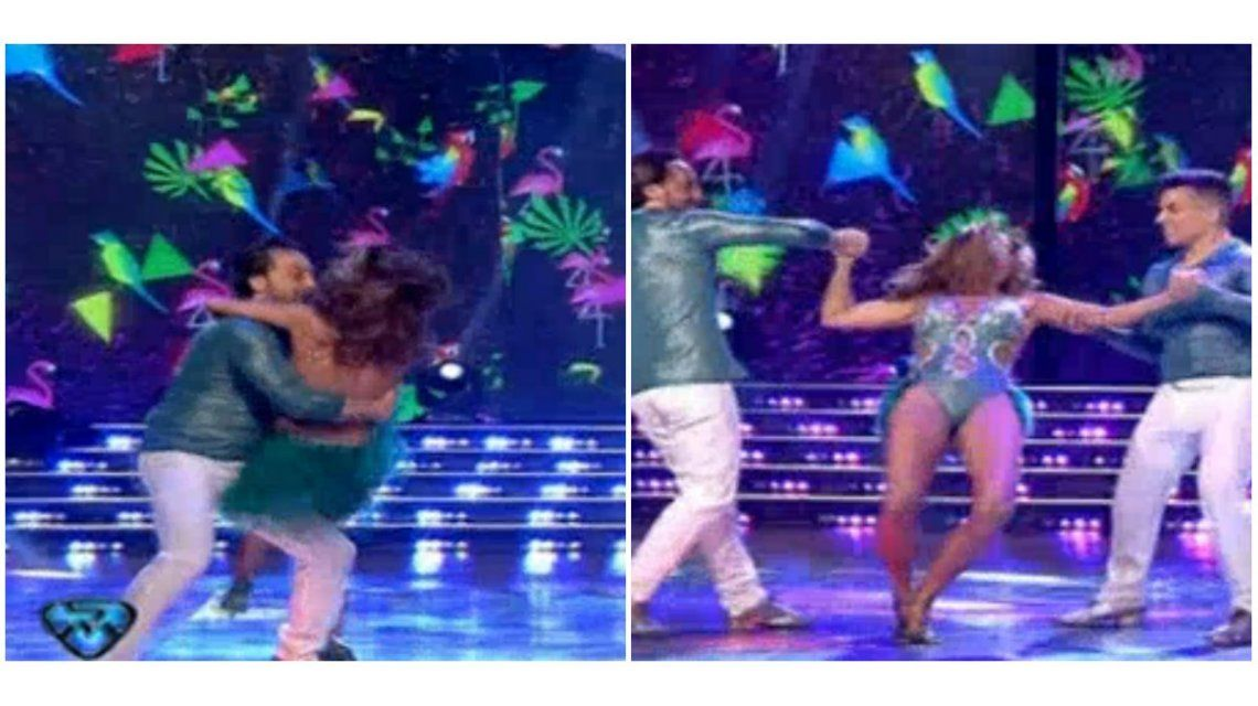 Iliana Calabró bailó con su novio y el truco final casi termina en un tremendo golpe