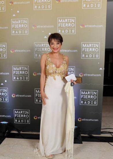 Marcela Feudale en la entrega de los Martín Fierro a la radio - Crédito: Prensa El Trece