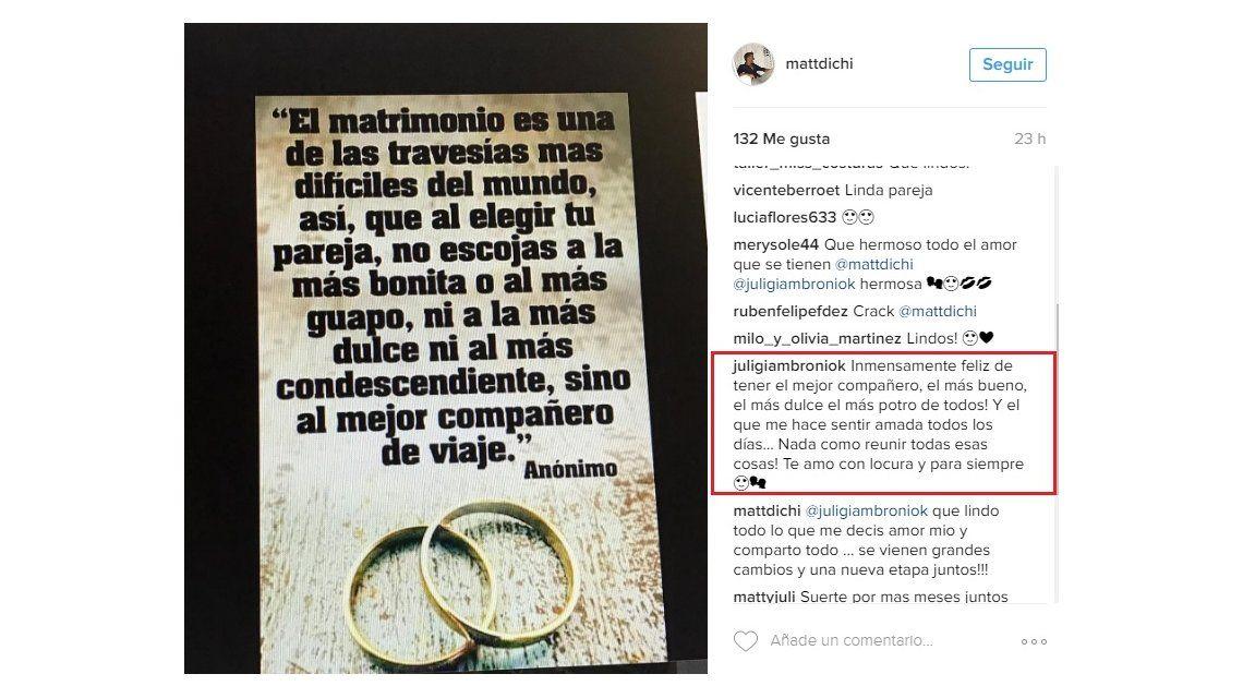 Tras la Icardiada, Juliana Giambroni y Matías Di Chiara, ¿anunciaron su casamiento?