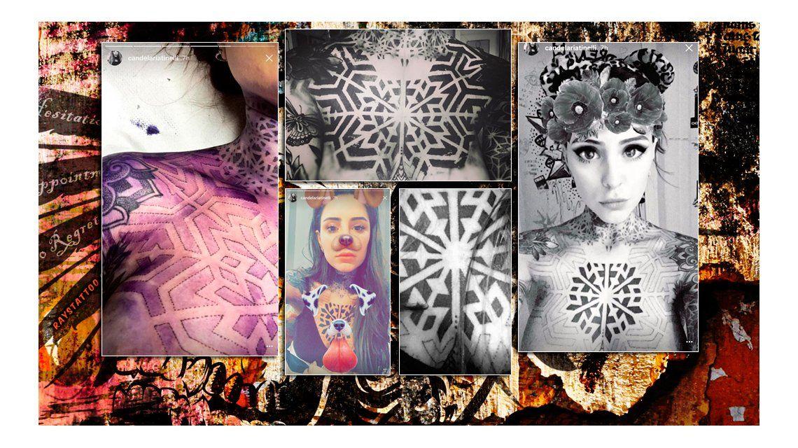 Cande Tinelli se tatuó el pecho y se divirtió en Instagram: Un viaje hacia la redención