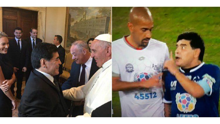 Maradona no tuvo Paz: visitó al Papa y después se peleó con Verón dentro de la cancha