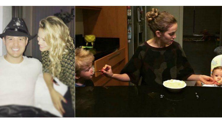 Luisana Lopilato y le da de comer a sus dos hijos a la vez.