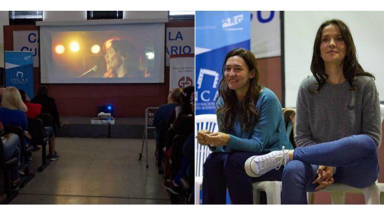 Natalia Oreiro visitó la cárcel de mujeres y proyectaron Gilda
