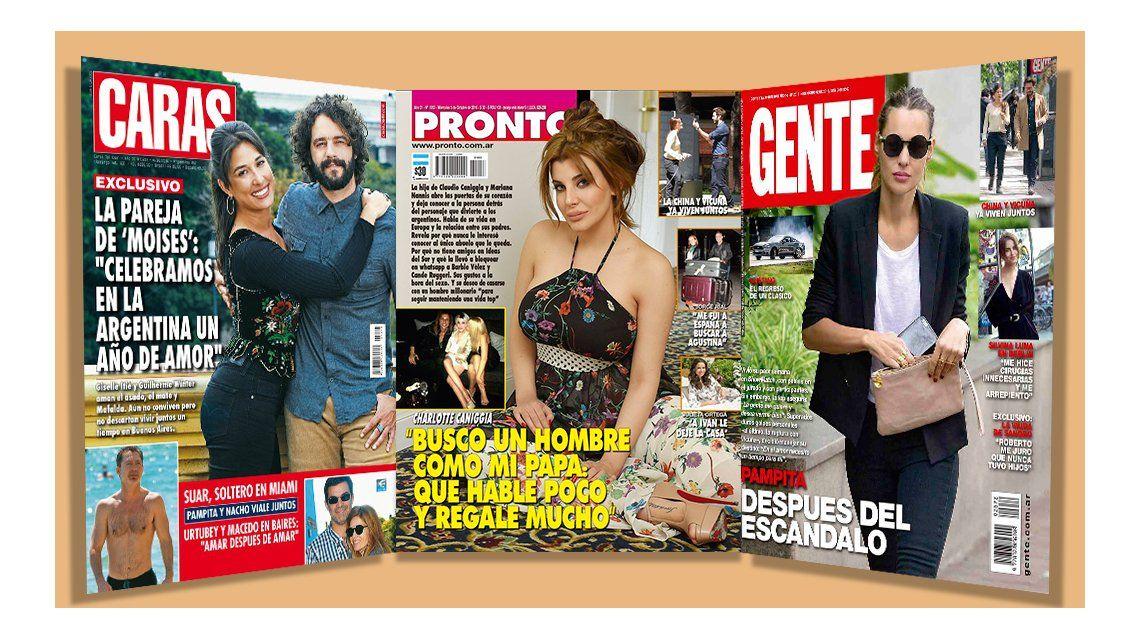 Tapas de revistas: Las fotos de Adrián Suar, soltero en Miami; y Charlotte Caniggia busca hombres con plata
