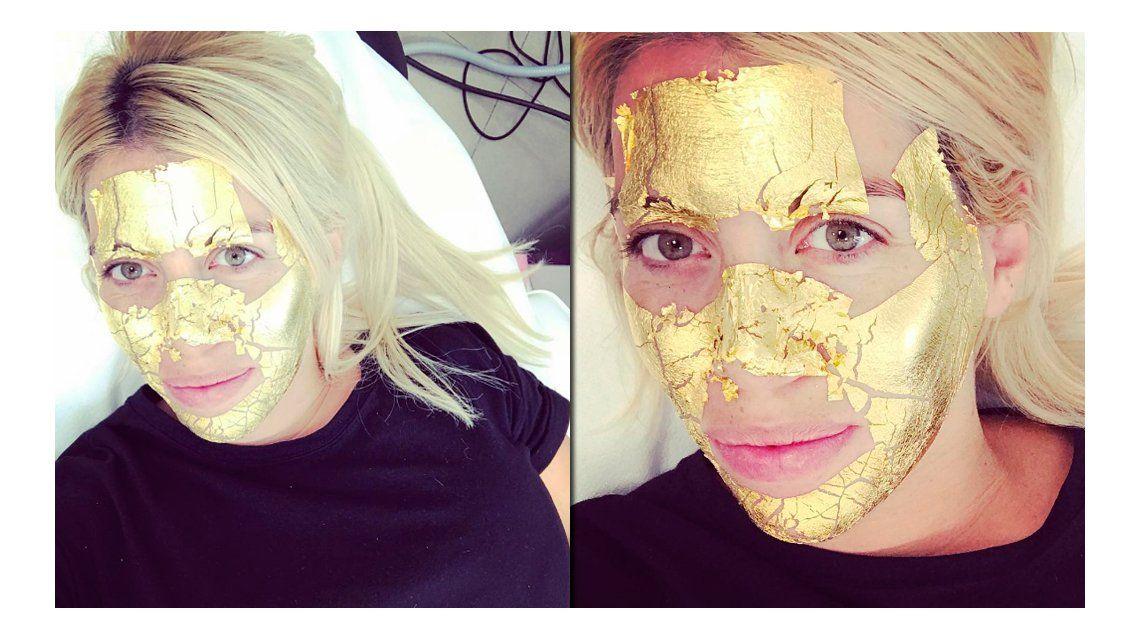 El extravagante tratamiento de belleza de Wanda Nara con una máscara ¡de oro!