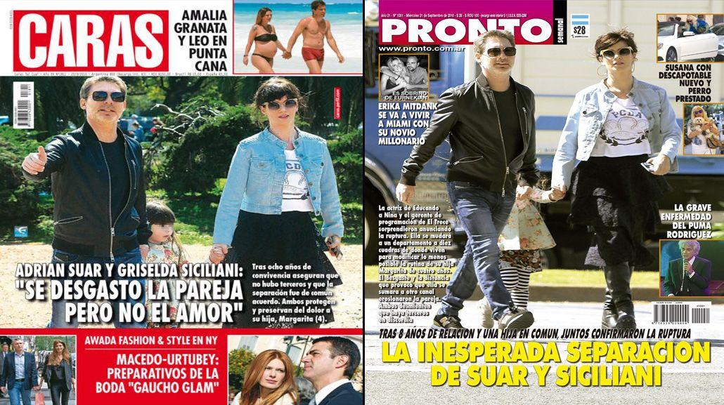 Griselda Siciliani y Adrián Suar copan las portadas de las revistas