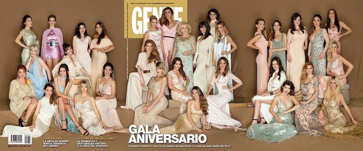 ¡Un lujo! Todas las famosas en la portada de la revista Gente en su gala aniversario