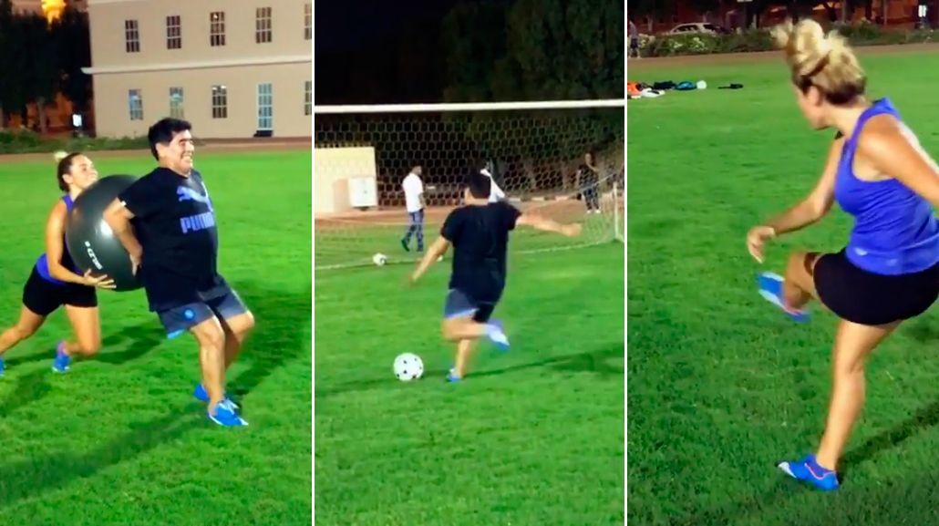 Mirá los ejercicios de Rocío Oliva y Diego Maradona: Entrenando con garra y amor; como nos gusta a nosotros