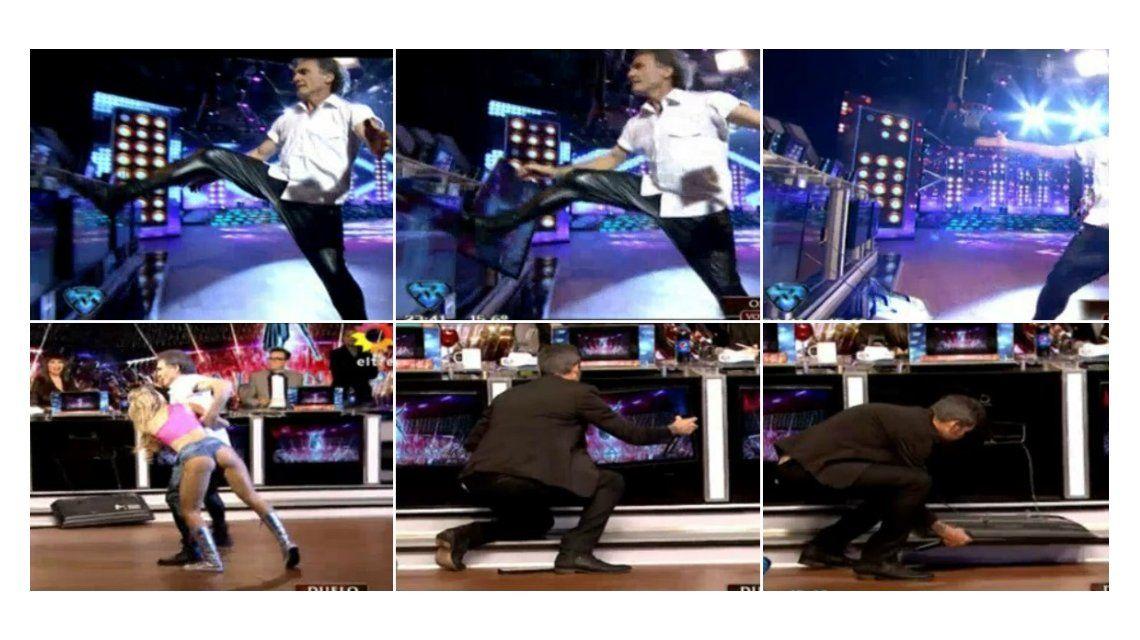 Desopilante blooper de Oscar Ruggeri en el duelo del reggaetón: ¡Rompió un monitor de una patada!