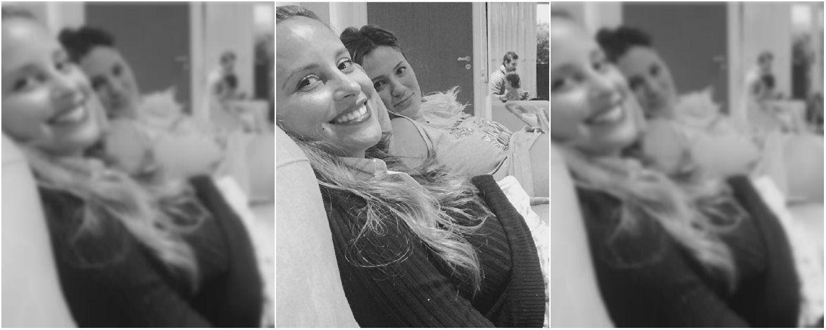 La tierna foto de Olivia, cuidando las pancitas de Lourdes Sánchez y Paula Chaves, en plena dulce espera