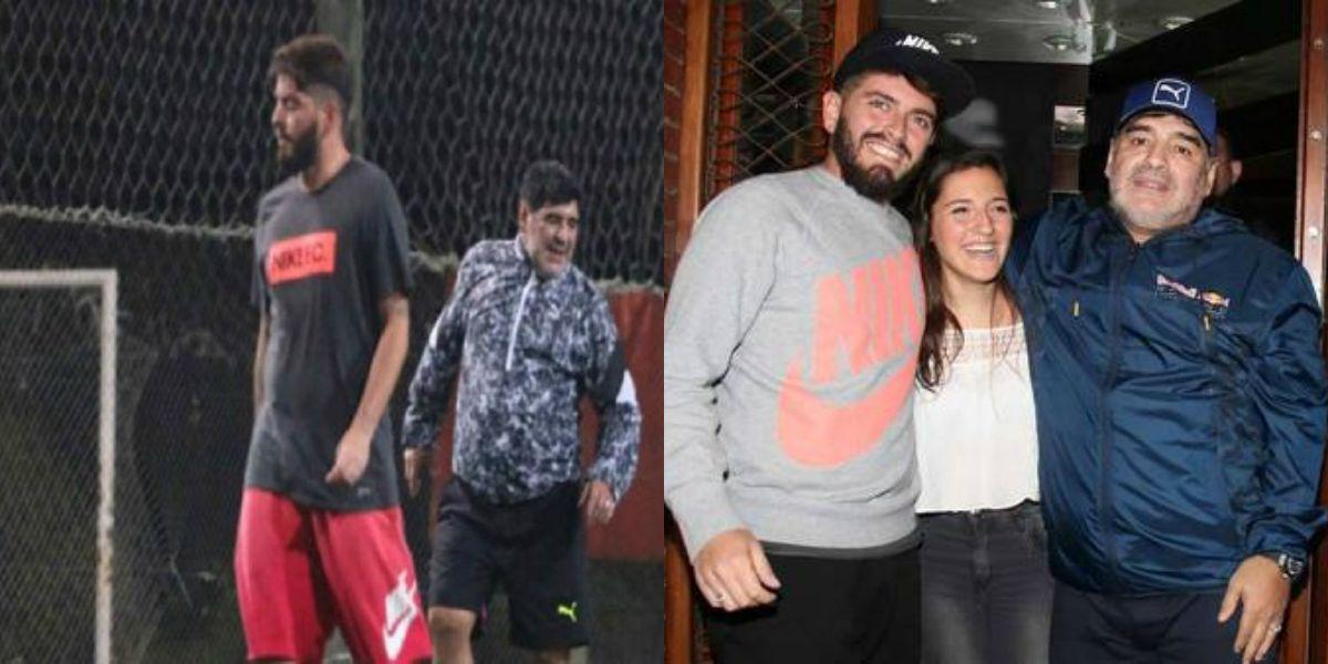 Por primera vez, Maradona y Diego Jr. compartieron un partido de fútbol