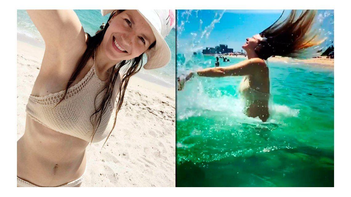 El lomazo de Marcela Kloosterboer a cinco meses de ser mamá: chapuzón y bikini