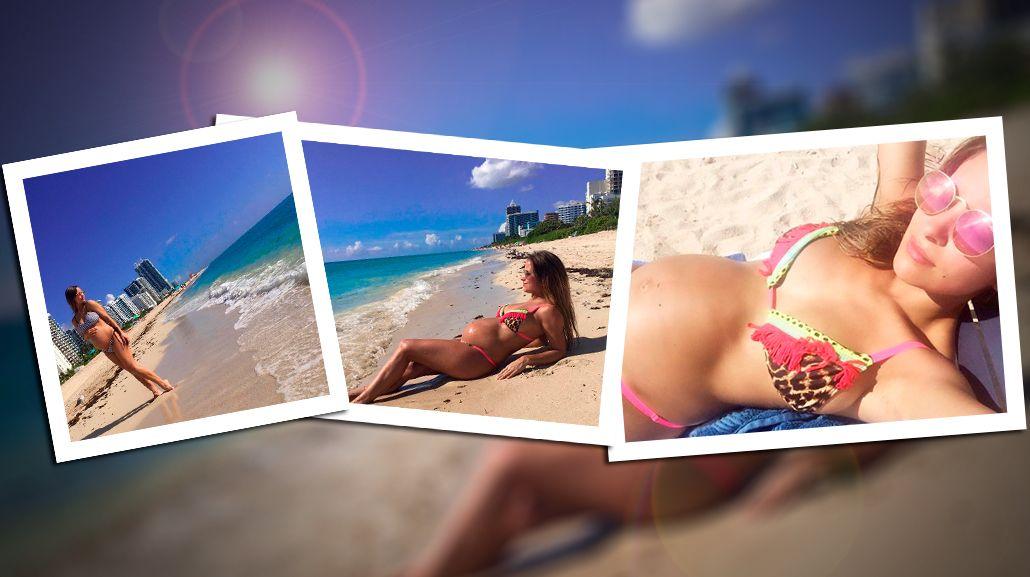 El álbum de Lourdes Sánchez, embarazada de seis meses y sexy en Miami