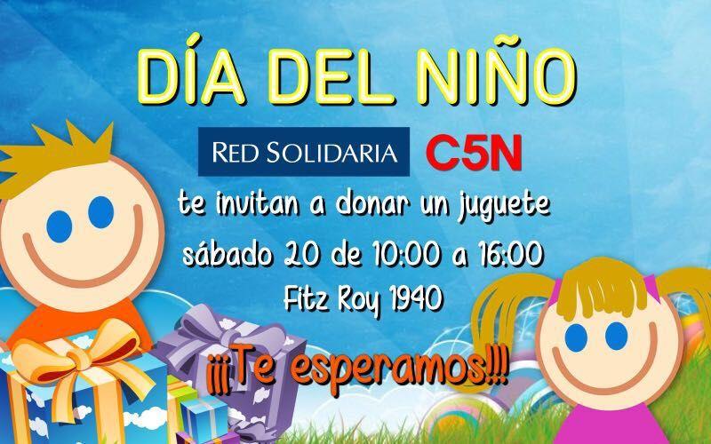 C5N y Red Solidaria te invitan a donar un juguete por el día del niño