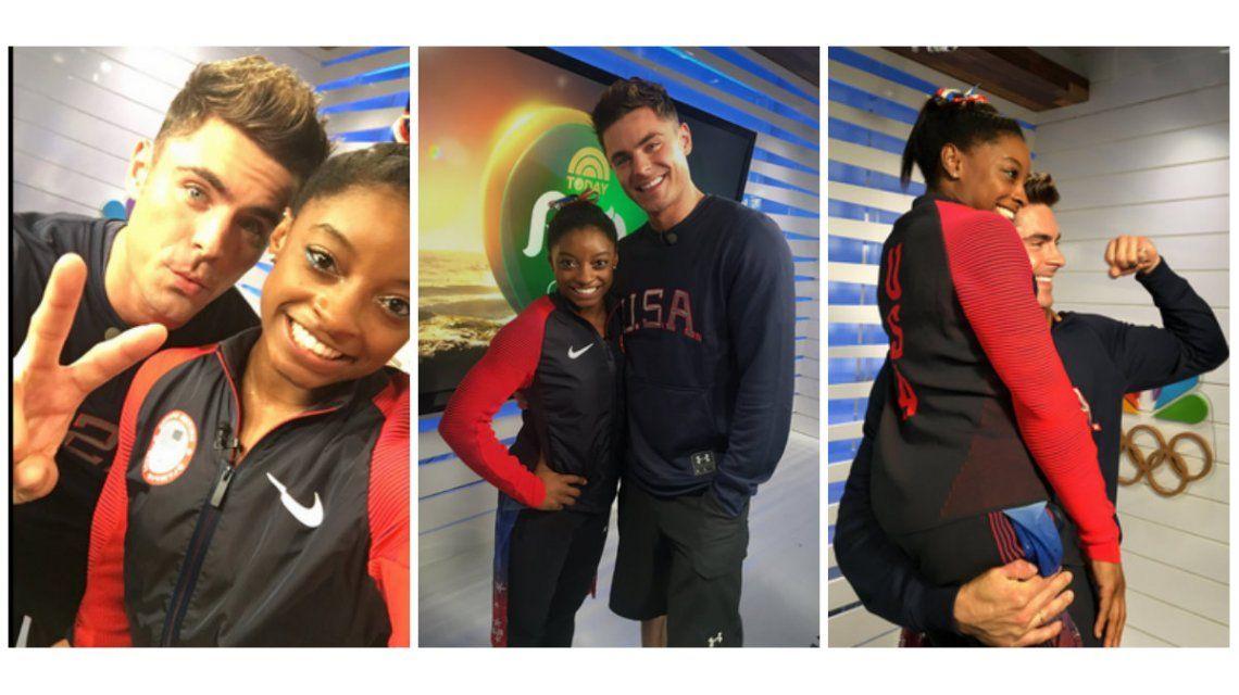 Juegos Olímpicos: Zac Efron viajó hasta Brasil y le cumplió el sueño a la medallista olímpica Simone Biles