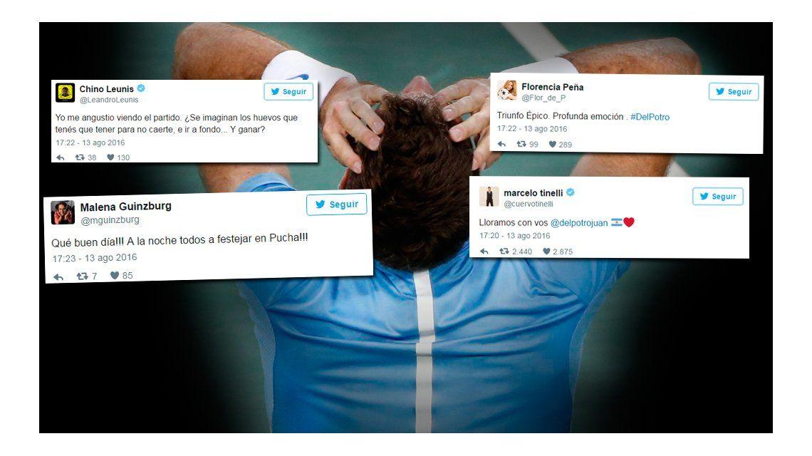 Ganó Juan Martín Del Potro ante Rafael Nadal y los famosos estallaron de felicidad en Twitter