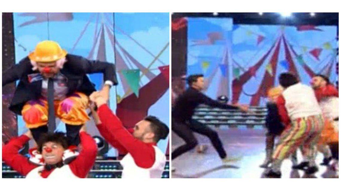 ¡Un Peligro! Tinelli hizo un truco con el Bicho Gómez ¡y terminó en el piso!