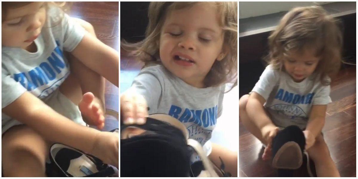 Tiernos videos: la lucha de Francesca Icardi para ponerse los tacos altos de Wanda
