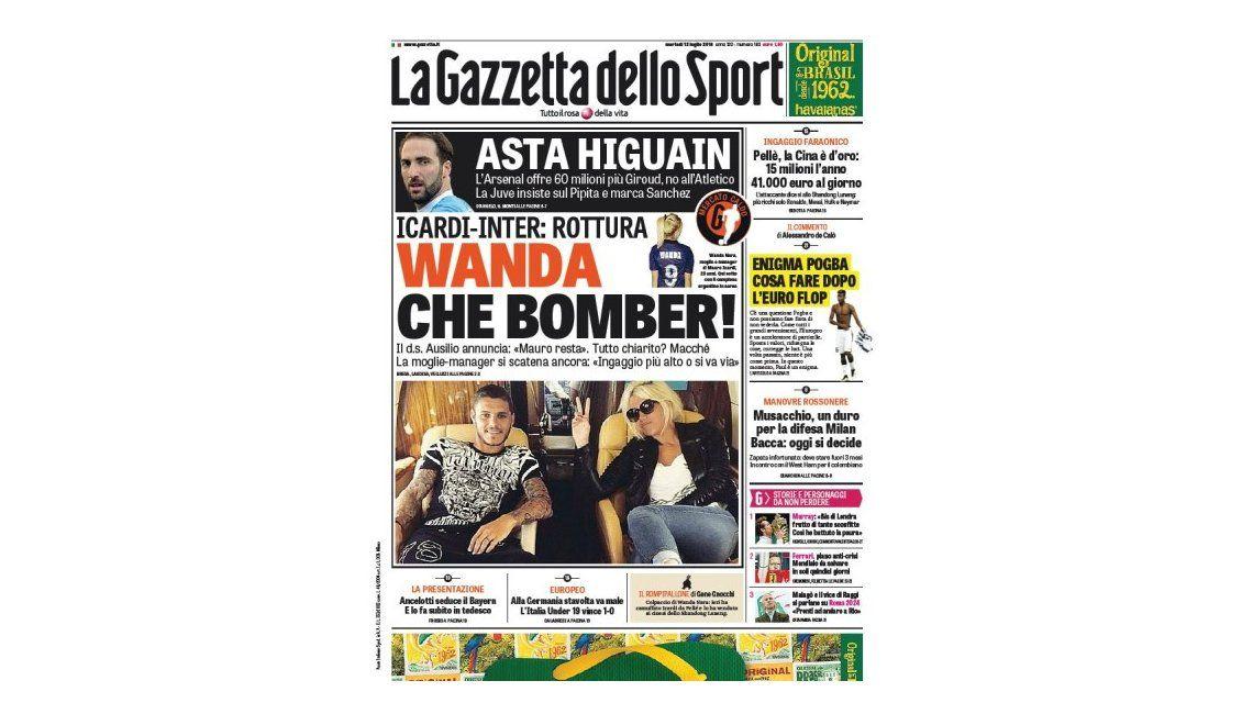 Wanda Nara es tapa de un diario italiano por pedir más plata para Mauro Icardi en el Inter