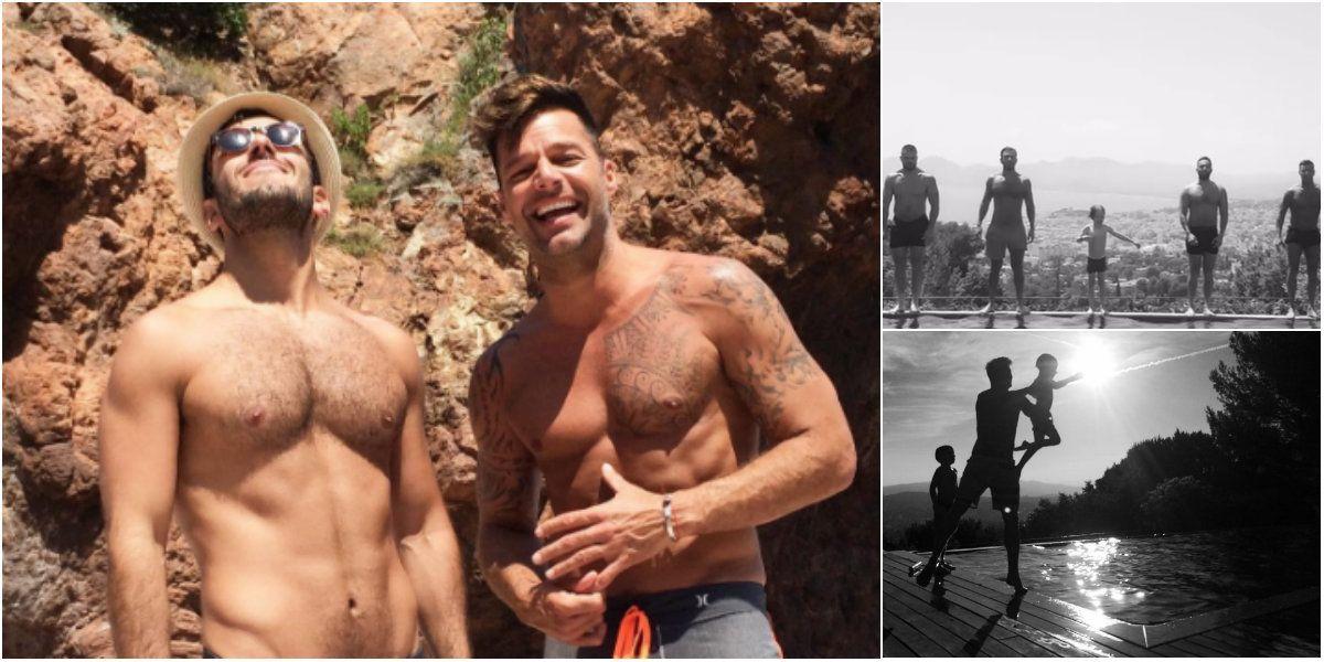 Las vacaciones de Ricky Martin con su novio y sus hijos: diversión y bombazo en el agua