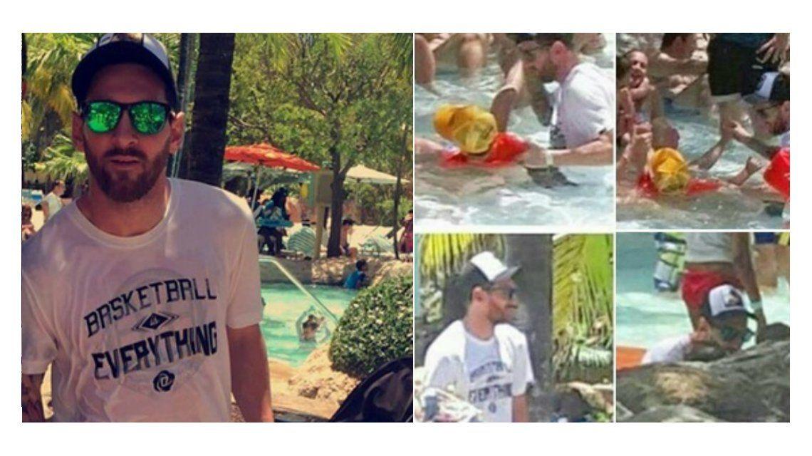 Mientras aseguran que vuelve a la Selección, Lionel Messi le enseña a nadar a Thiago en Bahamas