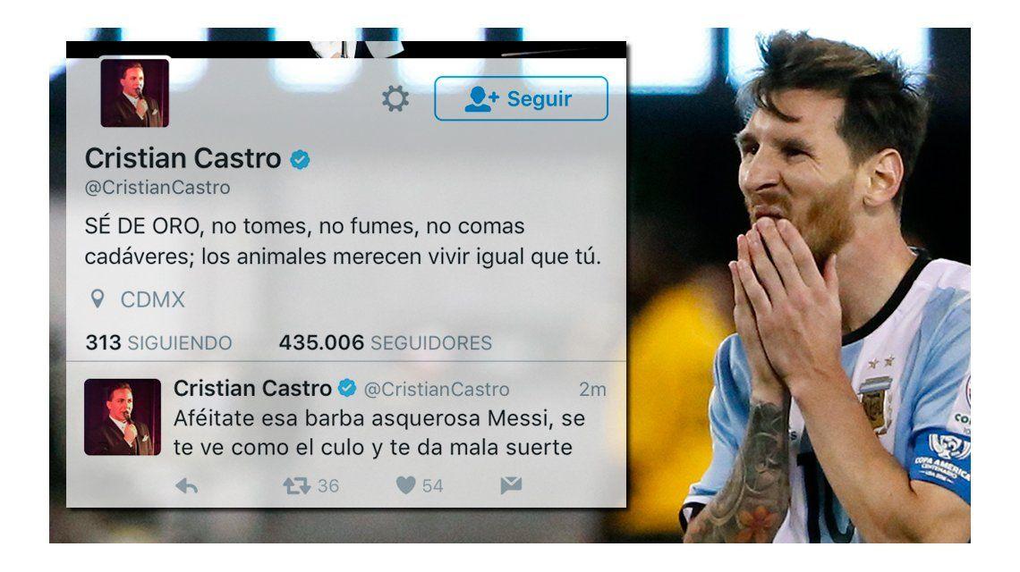 Cristian Castro criticó a Lionel Messi en Twitter y después se arrepintió: Afeitáte esa barba asquerosa...