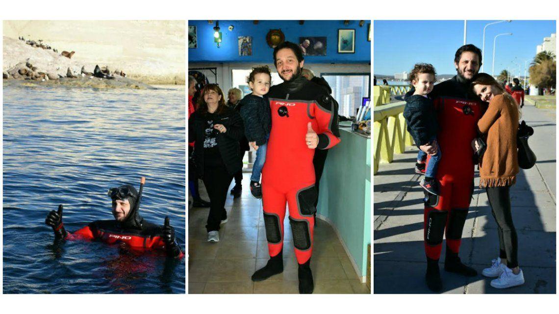 Germán Paoloski, Sabrina Garciarena y su hijo León, en Puerto Madryn: las fotos haciendo avistaje y snorkeling con lobos