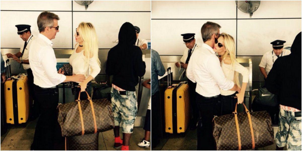 Luli Salazar y Martín Redrado, juntos en Miami: mimosos en el aeropuerto
